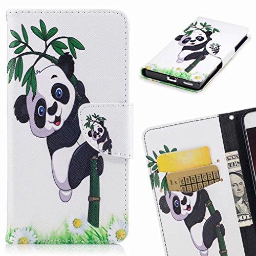 Yiizy Apple IPhone 7 Cover Custodia, Panda Arrampicata Design Silicone Custodia Flip Cover Portafoglio PU Pelle Cuoio Copertura Case Slot Schede Cavalletto Stile Libro Bumper Protettivo Borsa