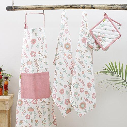 Kitchen combo Set, 100% Cotton, Set of Apron + Oven Mitten + Potholder & Pair of Kitchen towel, Eco - Friendly & Safe, Pink Spring Fields Design for Kitchen