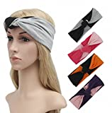 RRiody 4 Pack Women Yoga Elastic Turban Head Wrap Headband Twisted Cute Knotted Hair Band Headwear (Color 1)