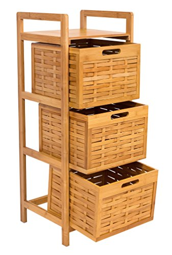- BIRDROCK HOME Storage Tower | Made of Natural Bamboo | Lightweight for Easy Transport | Fully Assembled