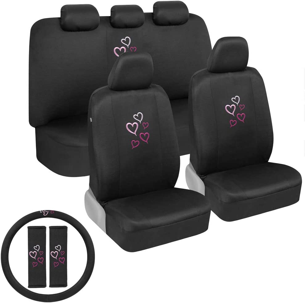 BDK Pink Hearts Car Seat Covers Full Set with Steering Wheel Cover and Seat Belt Pads – Front and Rear Covers with Matching Embroidered Accessories, Universal Fit for Cars Trucks Vans SUVs