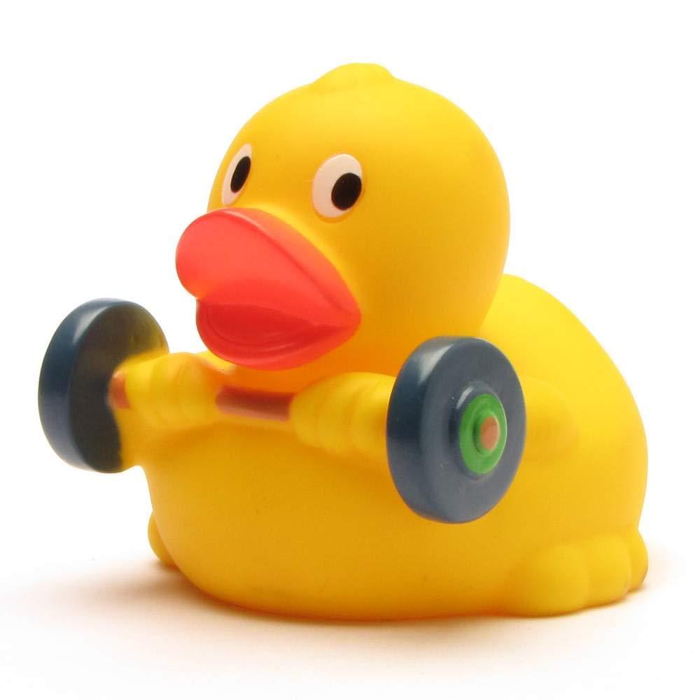 Badeente Gewichtheber I Quietscheente I Duckshop I L: 8 cm I inkl. Badeenten-Schlüsselanhänger im Set