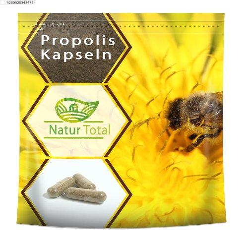 Naturtotal Propolis, 120 Kapseln aus getrocknetem und anschliessend gemahlenem Rohpropolis gewonnen. Zur Kräftigung und Stärkung des Allgemeinbefindens.