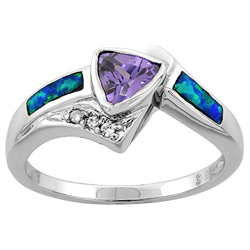 (Sterling Silver Blue Synthetic Opal Trillion Cut Ring for Women Amethyst CZ center 7/16 inch size 7)