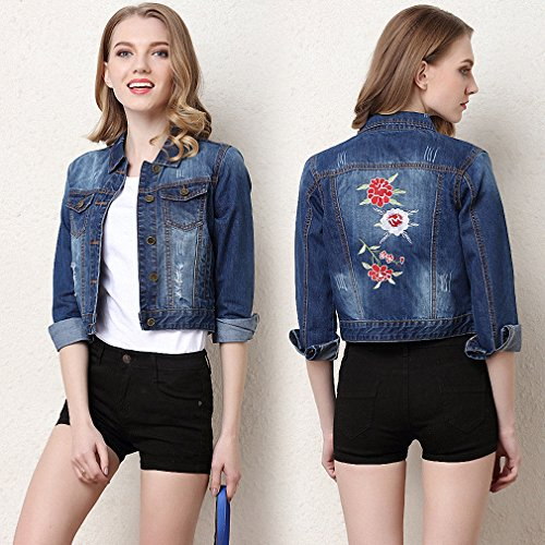 NEW New Fashion Summer Style Denim Coat Women Casual Flora Embroidery Coat Spring Autumn Short Jean Jacket at Amazon Womens Coats Shop