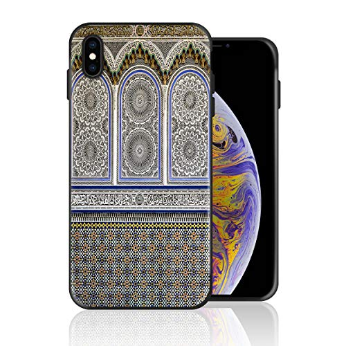 Silicone Case for iPhone 8 and iPhone 7, Islam Carved Mural Design Printed Phone Case Full Body Protection Shockproof Anti-Scratch Drop Protection Cover]()