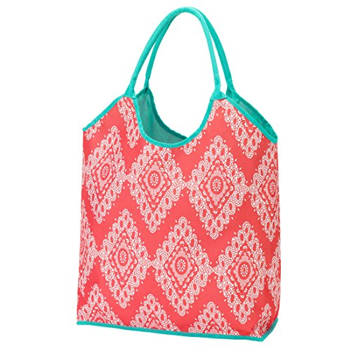 2017 High Fashion Print Water Resistant Extra Large Beach Bag Tote (Coral Cove)