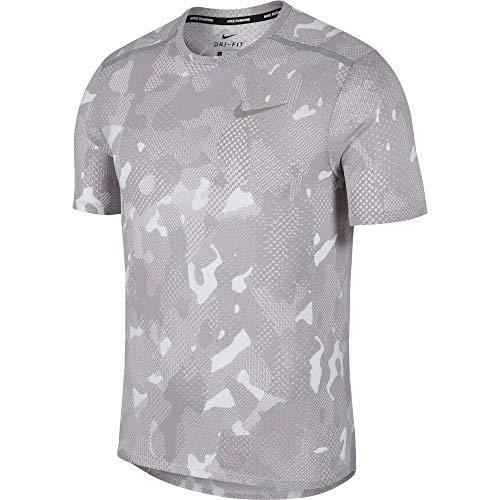 (Nike Men's Rise 365 Short Sleeve Running Top Atmosphere Grey/Metallic Silver LG)