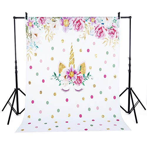FUT_Forever 7x5ft Unicorn Theme Birthday Backdrop Photography Background for Girls Pink Flowers Cute Unicorn Baby Shower Floral Backdrops Newborn Kids Birthday Party Banner Portrait Photo Backdrops]()