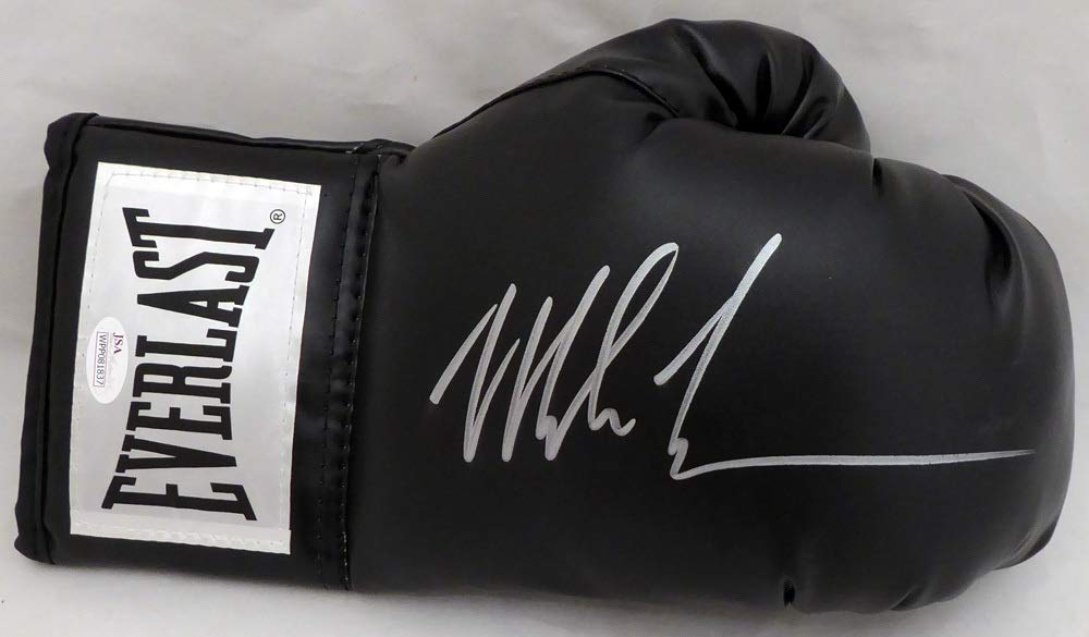 Mike Tyson Autographed Black Everlast Boxing Glove RH Signed In Silver JSA