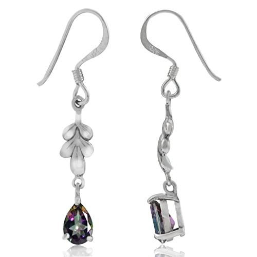 6fa6c9cc4 Image Unavailable. Image not available for. Color: Mystic Fire Topaz 925 Sterling  Silver Leaf Drop Dangle Hook Earrings