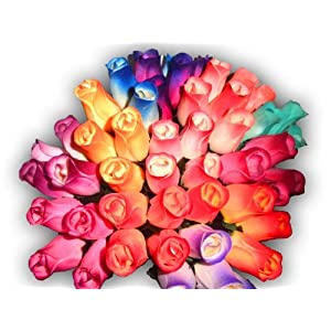 2 Dozen 24 Mixed Color Bouquet of Wooden Rose Buds Artificial Flower by Wooden Roses 76