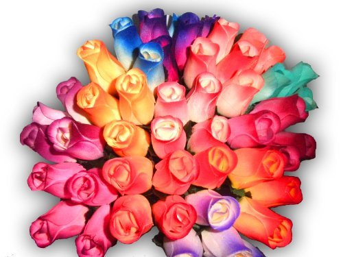 24 Mixed Roses Bouquet - 2 Dozen 24 Mixed Color Bouquet of Wooden Rose Buds Artificial Flower by Wooden Roses