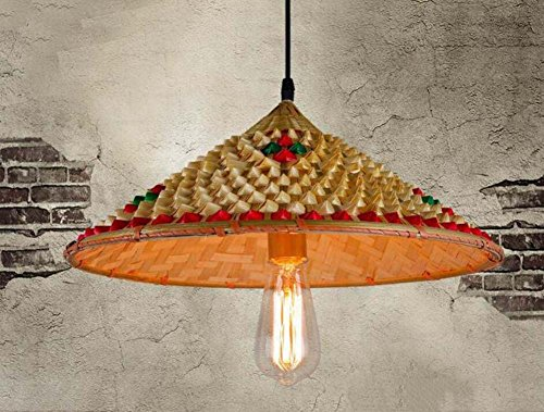 Onfly Retro Bamboo Pendant Lamp,Chinese Style Straw Hat/flared Shape Chandeliers,hot Pot/restaurant/farmhouse Deco Lights(without Bulb) (Color : C)