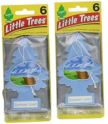 Little Trees Cardboard Hanging Car, Home & Office Air Freshener, Summer Linen (Pack of 12) - Little Trees Car