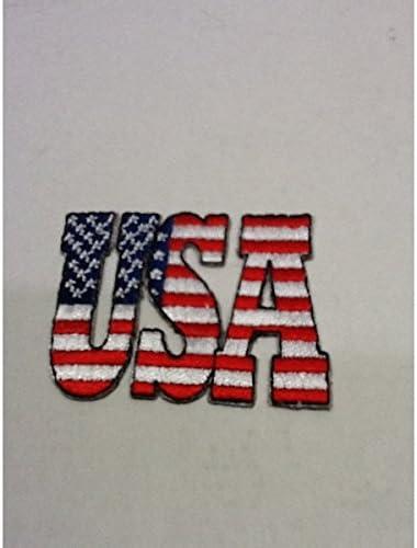 アメリカンな小型刺繍ワッペン(I)(USA星条旗)アイロンワッペン 刺繍、エンブレム、大人気、オシャレ