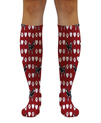 Funny Knee High Socks Alaskan Klee Kai Dog Red Polyester Tube Women & Men 1 Size 1