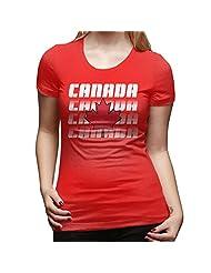 Women's Team Canada Canadian Maple Leaf Logo T-shirts Red