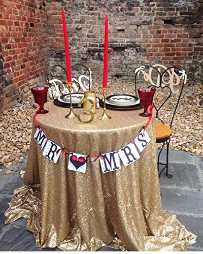 QueenDream New Selling 120' Round Matte Gold Banquet Decoration Sequin Tablecloth Round