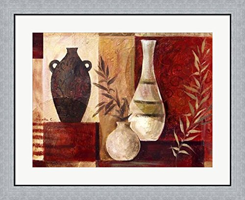 Spice Vases I by Marietta Cohen Framed Art Print Wall Picture, Flat Silver Frame, 32 x 26 inches