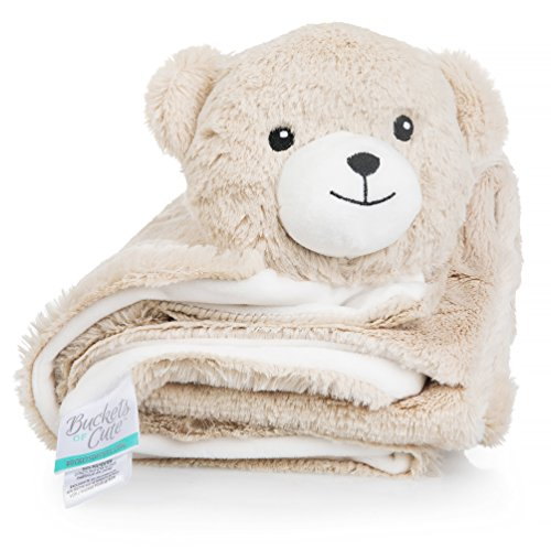 Plush, Knitted Fleece Baby Blanket â Large [30âx30in], Warm Security Blanket for Babies & Toddlers â Fuzzy, Fluffy Comfort in Adorable Animal Friend Design (Rory The Bear) by Buckets of Cute