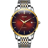 Mens Luxury Red Faced Watches for Business, Automatic Mechanical Silver Stainless Steel Band Wrist Watches and Date Waterproof Watch, Classic Father Husband Christmas Gift New Watches on Sale
