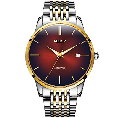 (Mens Luxury Red Faced Watches for Business, Automatic Mechanical Silver Stainless Steel Band Wrist Watches and Date Waterproof Watch, Classic Father Husband Christmas Gift New Watches on Sale)