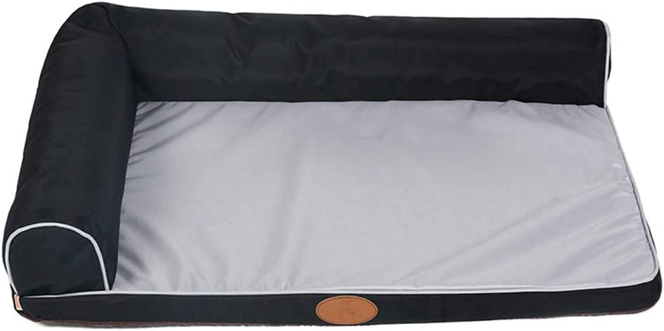MMAWN ペット犬用ベッドデラックス整形外科フェイクファー&スエードL字型コーナーシェーズラウンジソファ(2色2サイズ) (Color : 黒, Size : 70*50cm) 黒 70*50cm