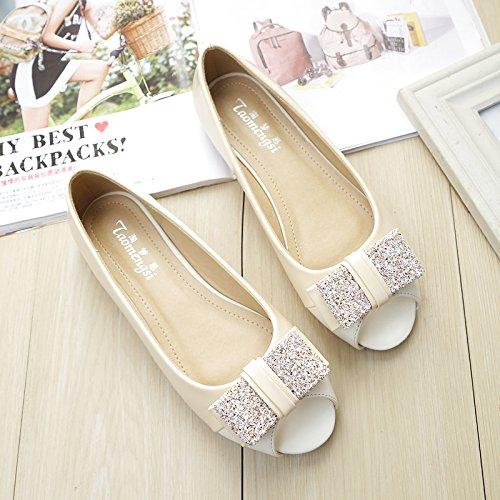 &qq Zapatos de boca de pescado femenino, sandalias planas abiertas del dedo del pie, zapatos solos con los zapatos planos, de gran tamaño 38