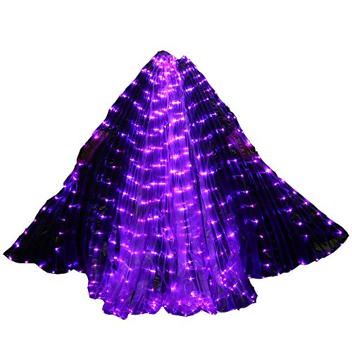 Carnival Halloween Shows 360-Degrees Luminous Led Belly Dance Isis Wings Belly Dance Costume Prop with Sticks(Dark Purple)