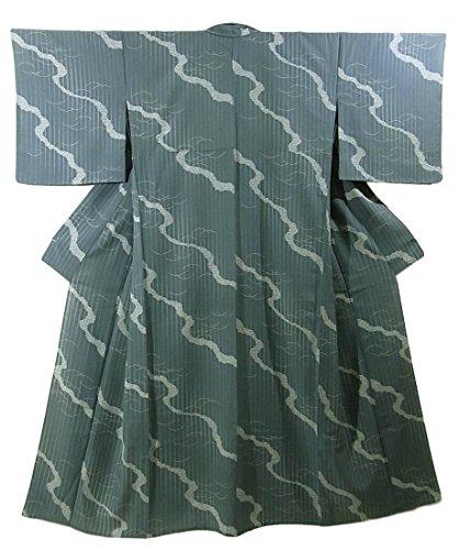 リサイクル 着物 夏物  絽 小紋 縞と露芝文 正絹 裄68cm 身丈158cm