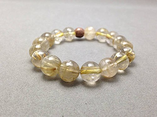 JP_Beads Yellow Golden Rutilated Quartz Stretch Beach Bracelet for Incredible Healing, Auric Protection for Empaths and Spiritual Growth 10 mm ()