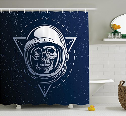 Ambesonne Outer Space Shower Curtain, Dead Skull Head Icon Cosmonaut Costume Astronomy Terrestrial Horror Scare Image, Fabric Bathroom Decor Set with Hooks, 105 Inches Extra Wide, Grey Blue