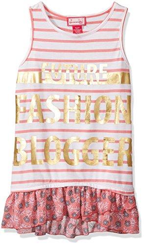Dream Star Big Girls' Stripe Tank with Foil Screen and Printed Chiffon Ruffle Hem, Coral/White, M/10-12