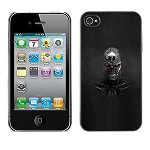 Slim Design Hard PC/Aluminum Shell Case Cover for Apple Iphone 4 / 4S Evil Robot / JUSTGO PHONE PROTECTOR