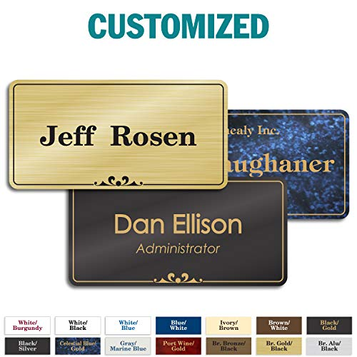 "Personalized Name Tags with Pin, Magnetic or Adhesive Backing, Choice of 15 Colors, 1.5"" x 3"" Prestige Collection by My Sign Center, 20105A1"