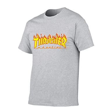 0e4487a06 Haiwaaa Unisex Short-Sleeve Sports T-Shirt Thrasher Magazine Flame T-Shirt  at Amazon Men s Clothing store
