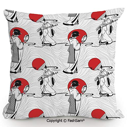 FashSam Home Super Soft Throw Pillow Japanese Geisha Girl with Traditional Kimono Folk Culture Style Modern Artful Image for Sofa Couch or Bed(16