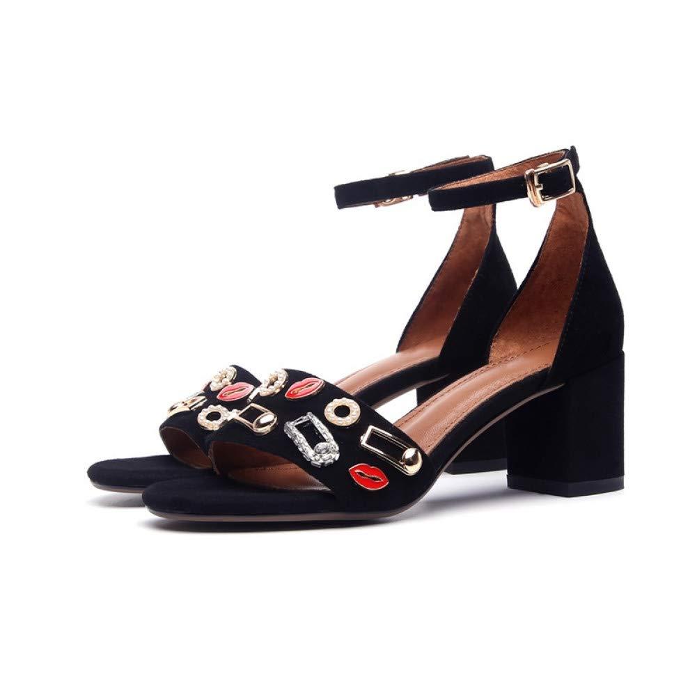 PINGXIANNV Frauen Schuhe Mode Hohe Quadratische Ferse Offene Offene Offene Spitze Schnalle Metall Dekoration Schwarz Sommer Dame Sandalen  c586a4