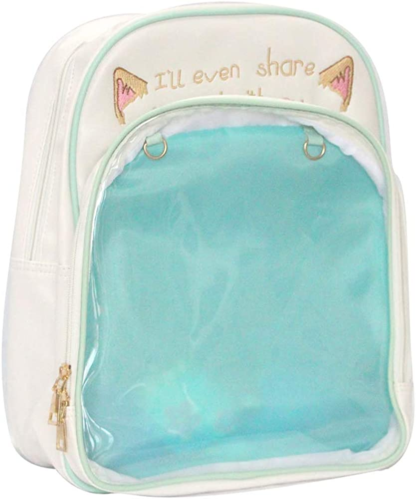KKEY Itabags Clear Window Backpack Ita Bag PU Leather Anime Bag Lolita Bag