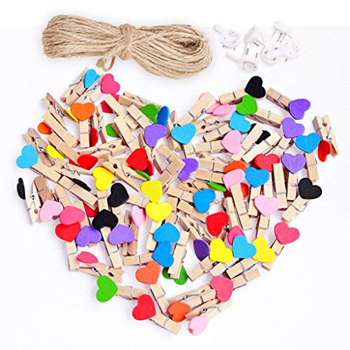 Euone  Valentine ClearanceSales!!! ,Heart Clips 50pcs Love Heart Small Wooden Clothespin Craft Clips DIY Photo Cards Peg from Euone_Home