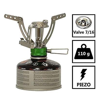 Hornillo Gas FM 400. Hornillo a Gas Ultra Leger 110 G encendido Piezo. Hornillo