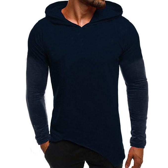 Hombres Sudadera con Capucha Slim Fit Camiseta con Manga Larga con Cuello en T Camiseta Blusas sin Mangas Blusa de Internet: Amazon.es: Ropa y accesorios