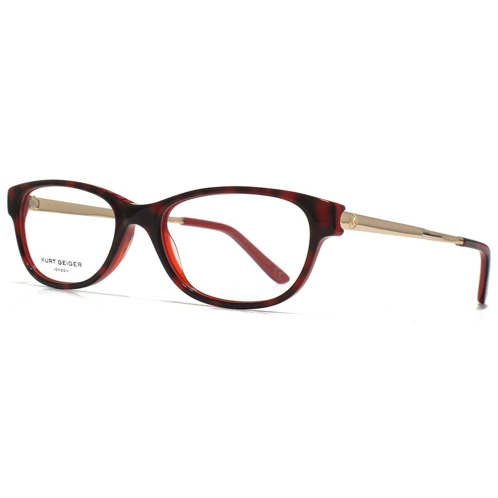 06c5f326ee Kurt Geiger Anna Petite Soft Rectangular Acetate Glasses in Red  Tortoiseshell With Red Interior KGS010-RED 48 Clear  Amazon.co.uk  Clothing