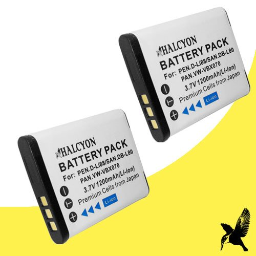 Two Halcyon 1200 mAH Lithium Ion Replacement Battery for Sanyo Xacti VPC-PD1 10 MP Camcorder and Sanyo DB-L80