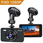 Dash Cam DVR Dashboard Camera Full HD 3″ LCD Screen 170°Wide Angle, WDR, G-Sensor, Loop Recording Motion Detection Excellent Video Images(Black) 1080P