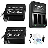 UltraPro 2-Pack AHDBT-401 High-Capacity Replacement Batteries with Rapid 3-Channel Charger for Select GoPro Digital Cameras. Bundle Includes: Mini Travel Tripod, Cleaning Kit, Screen Protectors