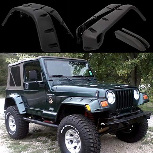 Threemom 7″ Wide Pocket Style Protector Fender Flares 6Pc Set Fit 97-06 Jeep Wrangler TJ