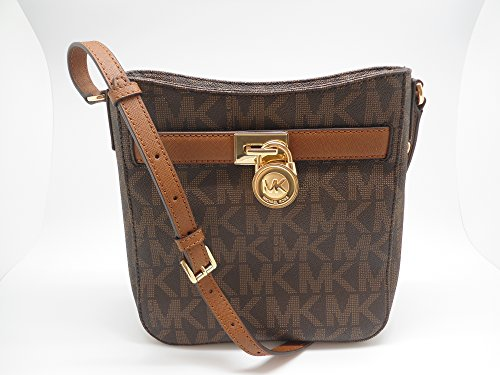 7d37e7b61f63 Michael Kors Signature PVC Hamilton Traveler Crossbody Bag Vanilla/Luggage