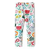 Hongshilian Girls Cotton Cartoon Ankle Length Basic Leggings(Flowers & White,2-3Yrs)